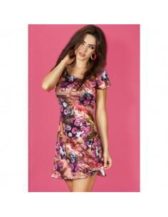 Mini Vestido Cr-3682 Rosa E Coral