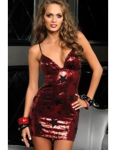 Vestido Vermelho De Lantejoulas Com Estrelas