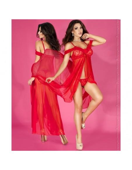 Camisa De Noite E Tanga Cr-3716 Vermelha - 36-38 S/M - PR2010324376