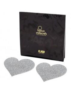 Tapa Mamilos Flash Glitter Heart Bijoux Indiscrets Prateados