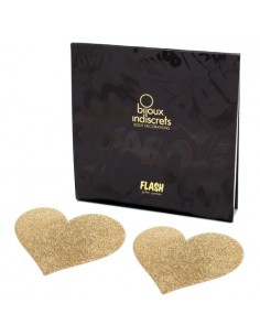 Tapa Mamilos Flash Glitter Heart Bijoux Indiscrets Dourados - PR2010324273