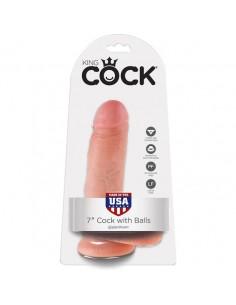 """Dildo Realístico Com Testículos King Cock 7"""" Branco - PR2010333818"""