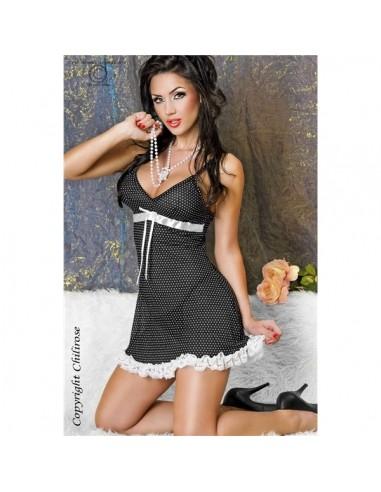 Camisa De Noite E Tanga Cr-3170 Preta Com Bolinh - 40-42 L/XL - PR2010318486