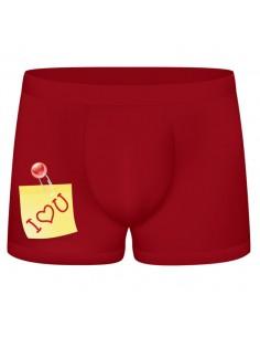 Boxer Divertido I Love You Vermelho Escuro - Vermelho - Único - PR2010305019