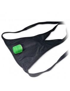 Tanga vibratória com tampões de mamilos brilha no es - Único - PR2010312027