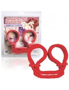 Algemas Para Os Tornozelos Japanese Silk Love Rope Vermelhas